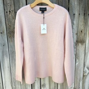 NWT Something Navy Pullover Crew Cashmere Pink L
